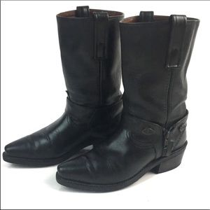 HARLEY DAVIDSON BLACK PULL ON LEATHER RIDING BOOTS